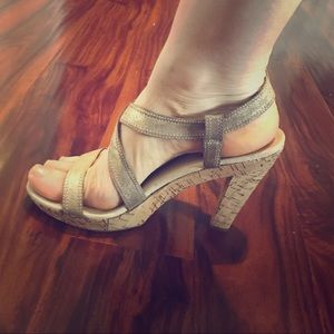 American Eagle Gold Strappy Cork 4inch Heel